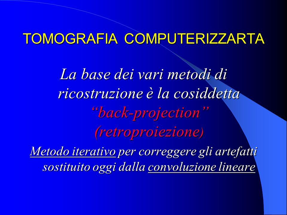 TOMOGRAFIA COMPUTERIZZARTA La base dei vari metodi di ricostruzione è la cosiddetta back-projection (retroproiezione ) Metodo iterativo per correggere