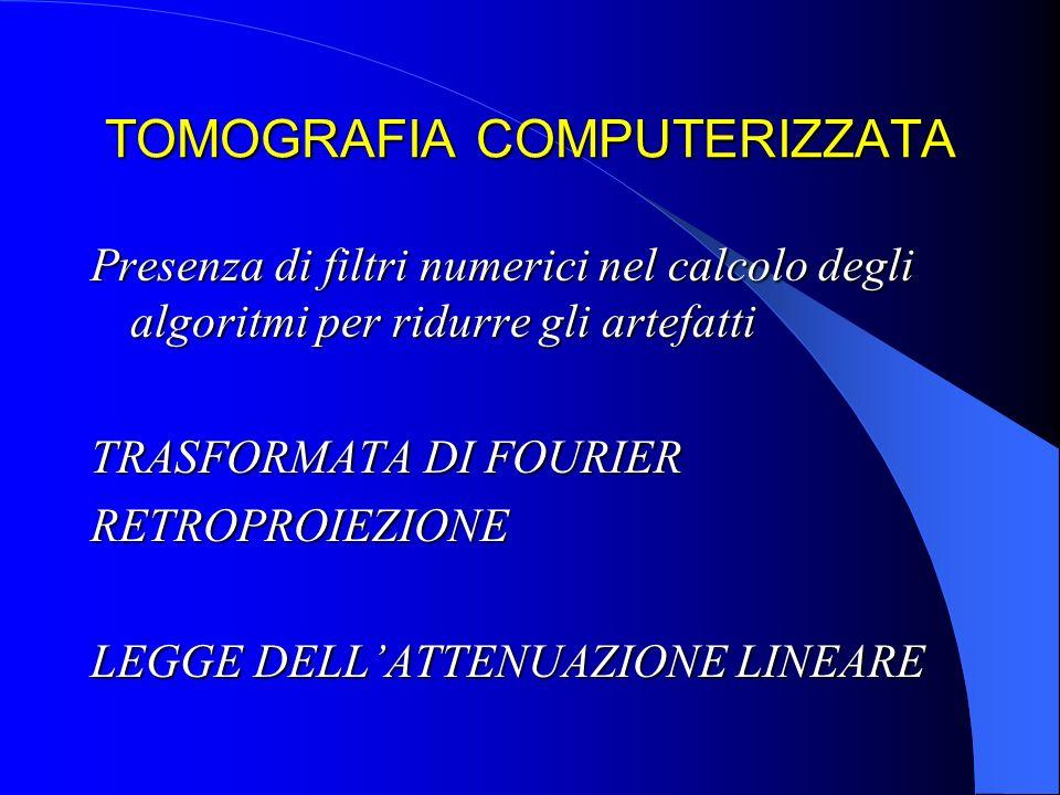 TOMOGRAFIA COMPUTERIZZARTA STRUTTURA DI UN SISTEMA TC UNITA DI SCANSIONE=gantry (tubo, collimatori, detettori, ADC, generatore, lettino Pz UNITA DI SCANSIONE=gantry (tubo, collimatori, detettori, ADC, generatore, lettino Pz ELABORATORE ELETTRONICO ELABORATORE ELETTRONICO UNITA DI VISUALIZZAZIONE UNITA DI VISUALIZZAZIONE SISTEMI DI ARCHIVIAZIONE SISTEMI DI ARCHIVIAZIONE