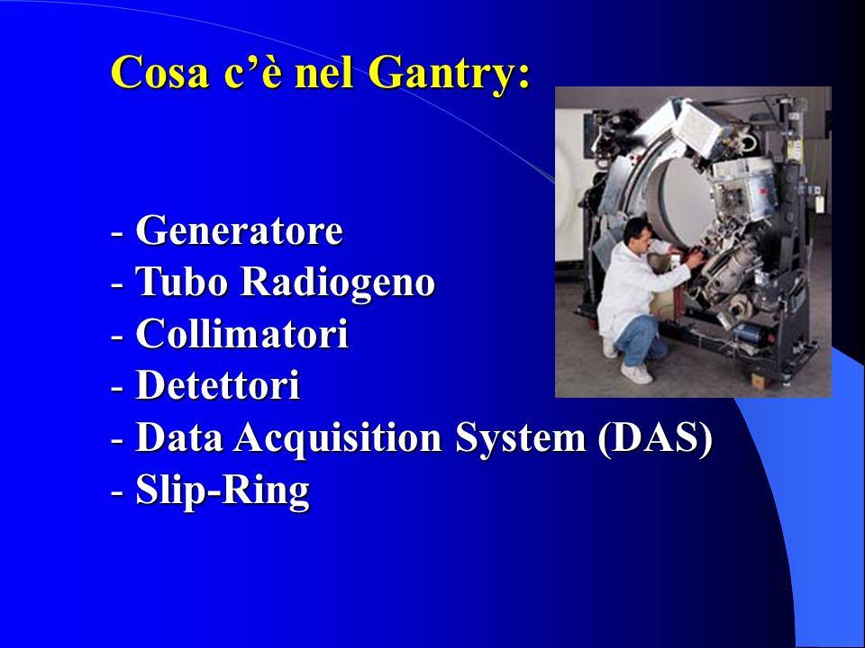 Cosa cè nel Gantry: - Generatore Tubo Radiogeno - Tubo Radiogeno - Collimatori - Detettori - Data Acquisition System - Slip-Ring GENERATORE Alta frequenza (20000 - Alta frequenza (20000 impulsi/sec controllo digitale) impulsi/sec controllo digitale) - Dimensioni ridotte - Alte potenze (60 KW) - Alte tensioni (140 KV), costanti costanti - Ampia varietà di mA
