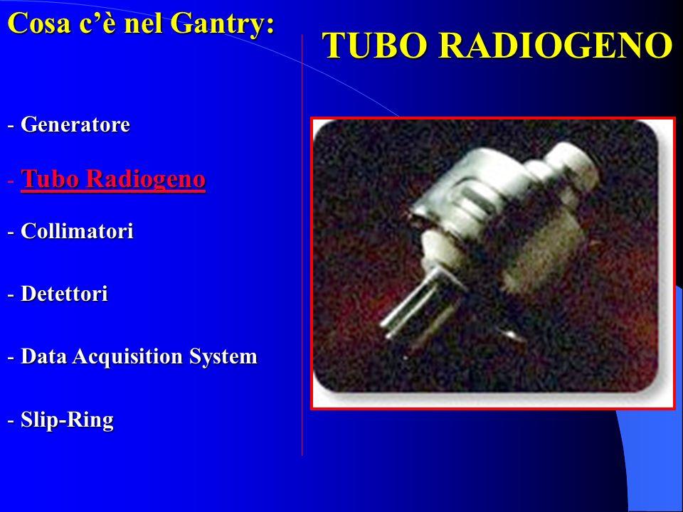 TUBO RADIOGENO Cosa cè nel Gantry: - Generatore Tubo Radiogeno - Tubo Radiogeno - Collimatori - Detettori - Data Acquisition System - Slip-Ring
