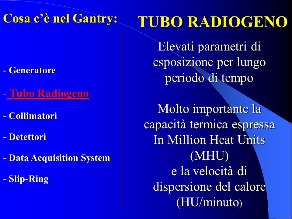 System TUBO RADIOGENO Elevati parametri di esposizione per lungo periodo di tempo Molto importante la capacità termica espressa In Million Heat Units