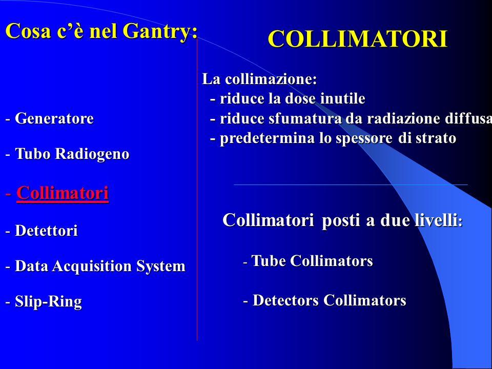 COLLIMATORI Collimatori posti a due livelli : - Tube Collimators - Detectors Collimators La collimazione: - riduce la dose inutile - riduce la dose in