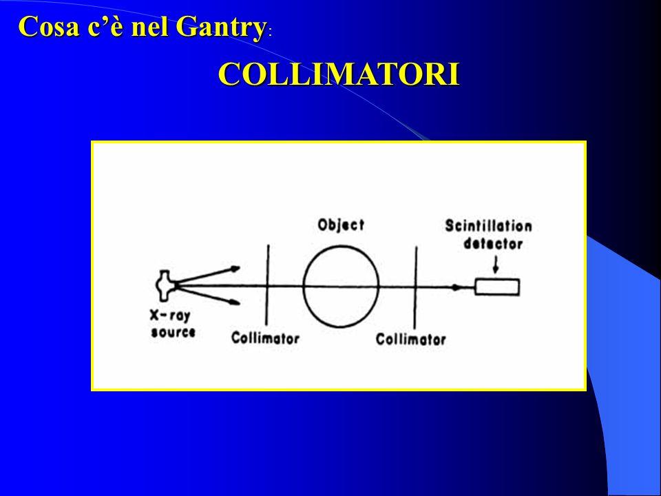 Cosa cè nel Gantry: COLLIMAZIONE PRIMARIA Tube Collimators (Source Collimators) - Collima lo spessore del fascio di raggi X alluscita dal tubo radiogeno - Determina lo spessore del fascio e pertanto la collimazione di strato (slice collimation)
