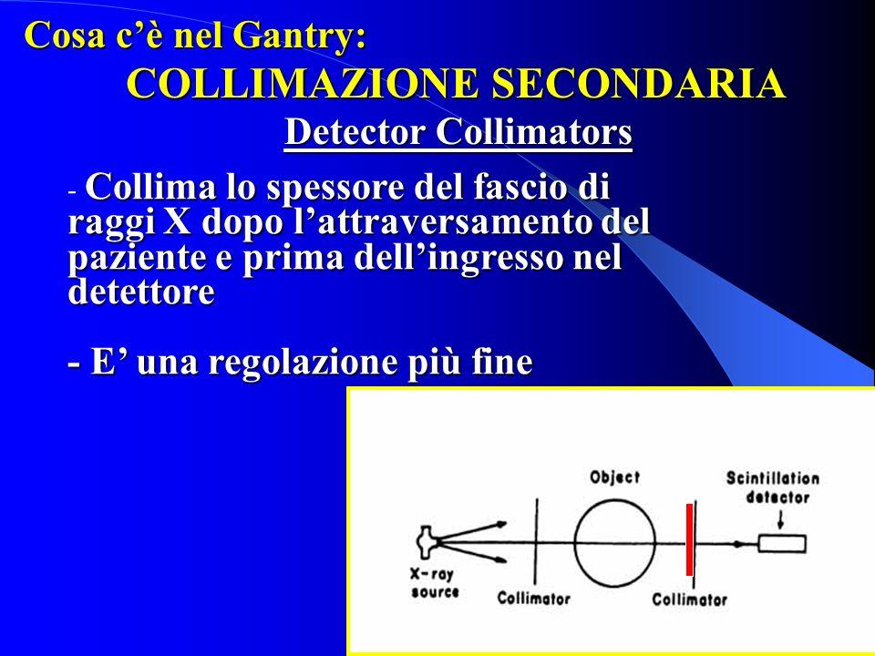 Cosa cè nel Gantry: COLLIMAZIONE SECONDARIA Detector Collimators Collima lo spessore del fascio di raggi X dopo lattraversamento del paziente e prima