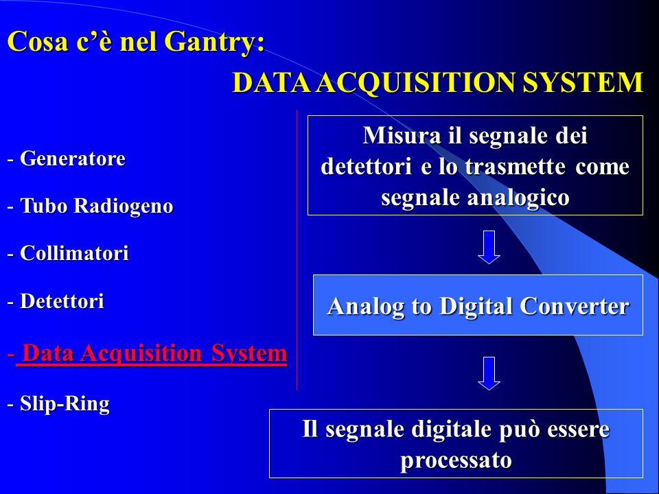 DATA ACQUISITION SYSTEM Misura il segnale dei detettori e lo trasmette come segnale analogico Analog to Digital Converter Il segnale digitale può esse