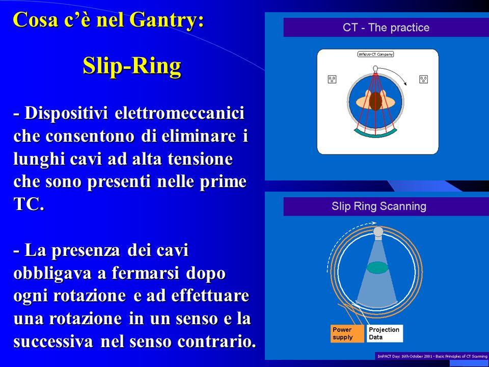 Slip-Ring - Dispositivi elettromeccanici che consentono di eliminare i lunghi cavi ad alta tensione che sono presenti nelle prime TC. - La presenza de