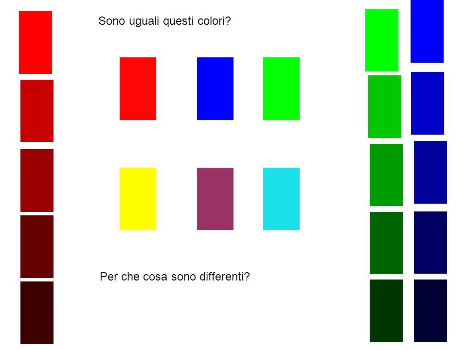 Sono uguali questi colori? Per che cosa sono differenti?