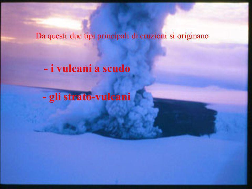 I vulcani a scudo sono caratterizzati da: - una predominanza di colate laviche - un pendio con angoli di riposo molto bassi, normalmente inferiori a 10° Esempi: Hawaii, Islanda, Ile de La Reunion Gli strato-vulcani sono caratterizzati da: - alternanza di colate laviche, prodotti piroclastici (tufi) e domi - un angolo di riposo del pendio molto più accentuato (fino a 50°) Esempi: St.Helens, Vesuvio, Pinatubo