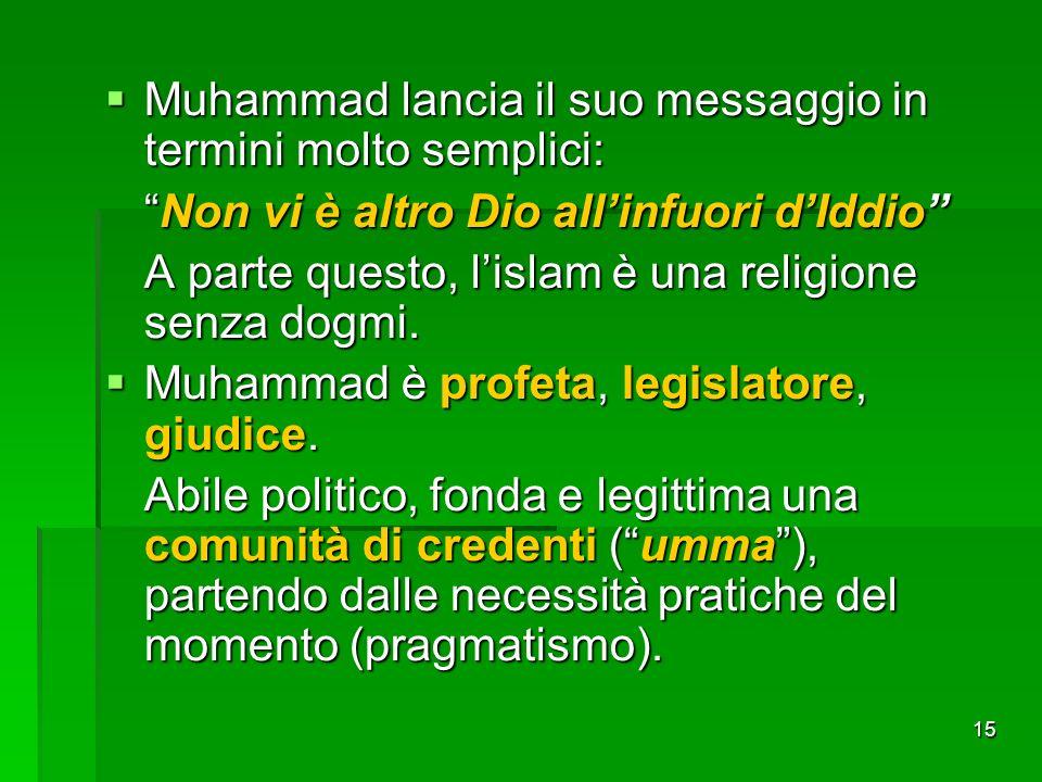 15 Muhammad lancia il suo messaggio in termini molto semplici: Muhammad lancia il suo messaggio in termini molto semplici: Non vi è altro Dio allinfuo