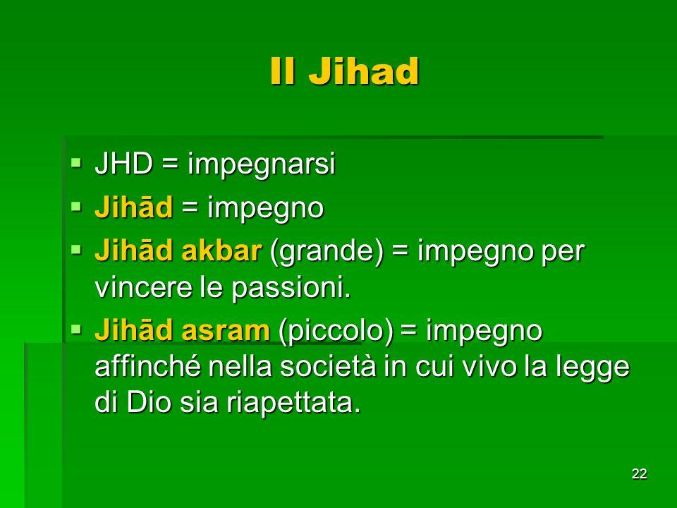 22 Il Jihad JHD = impegnarsi JHD = impegnarsi Jihād = impegno Jihād = impegno Jihād akbar (grande) = impegno per vincere le passioni. Jihād akbar (gra