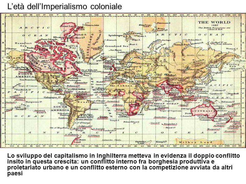 Letà dellImperialismo coloniale Lo sviluppo del capitalismo in Inghilterra metteva in evidenza il doppio conflitto insito in questa crescita: un confl