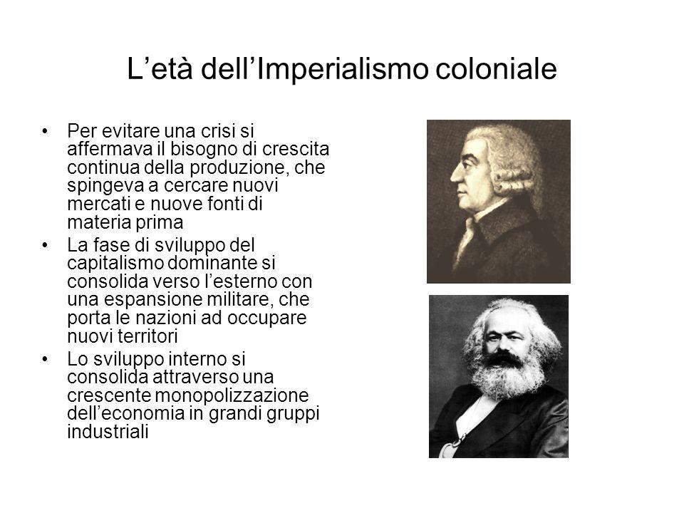 Letà dellImperialismo coloniale Per evitare una crisi si affermava il bisogno di crescita continua della produzione, che spingeva a cercare nuovi merc