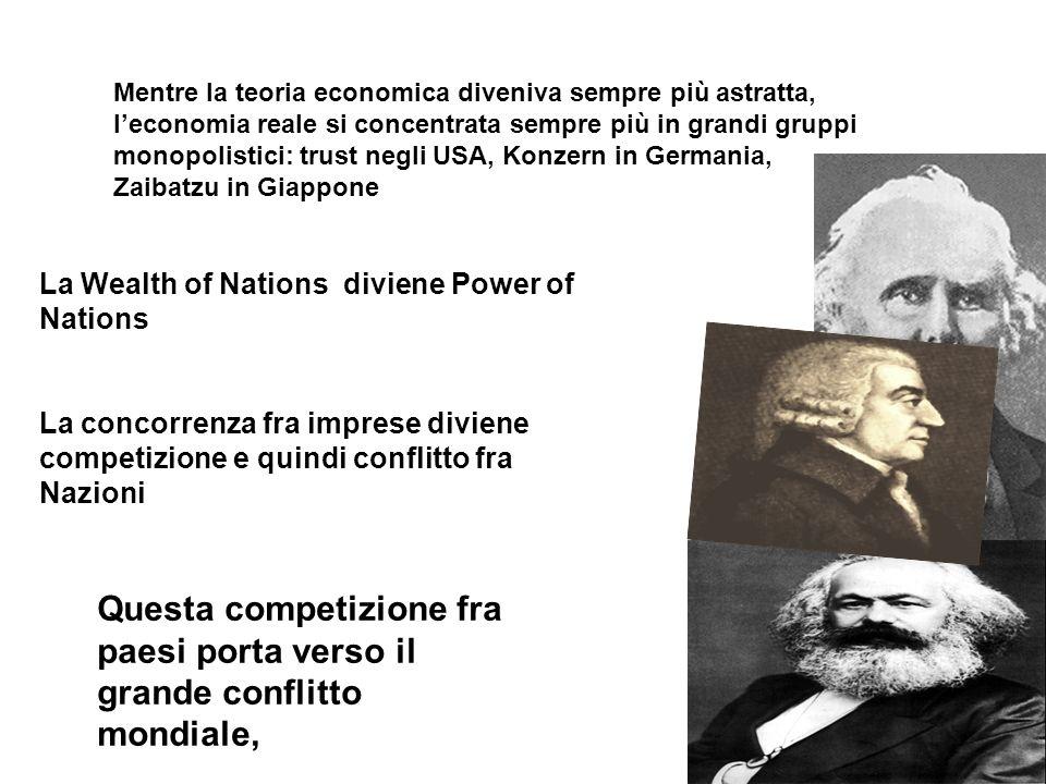 La Wealth of Nations diviene Power of Nations La concorrenza fra imprese diviene competizione e quindi conflitto fra Nazioni Mentre la teoria economic