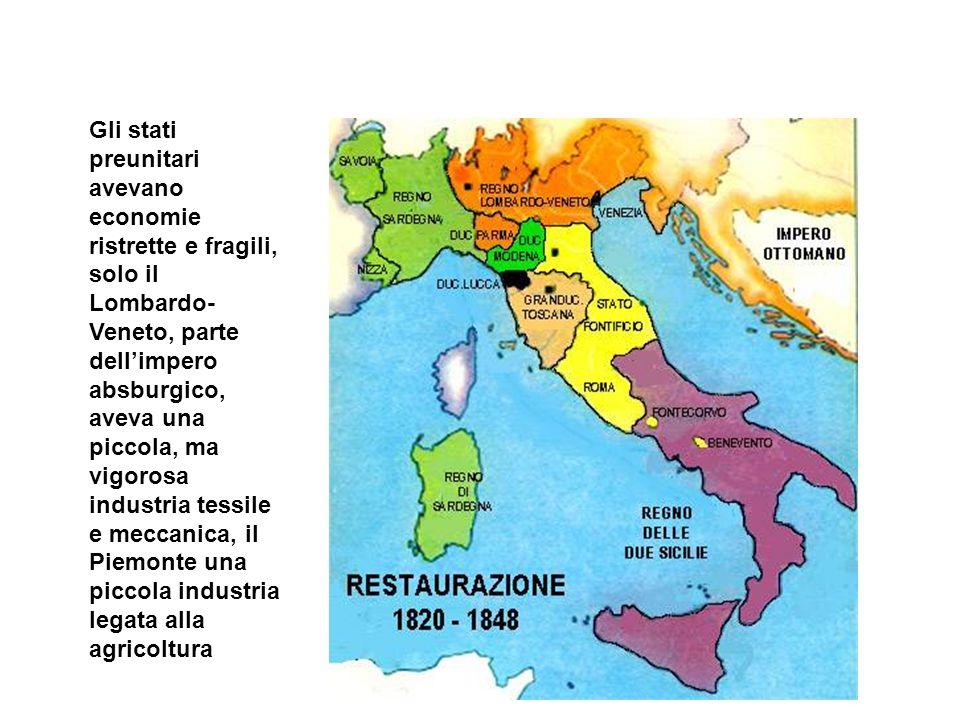 Gli stati preunitari avevano economie ristrette e fragili, solo il Lombardo- Veneto, parte dellimpero absburgico, aveva una piccola, ma vigorosa indus