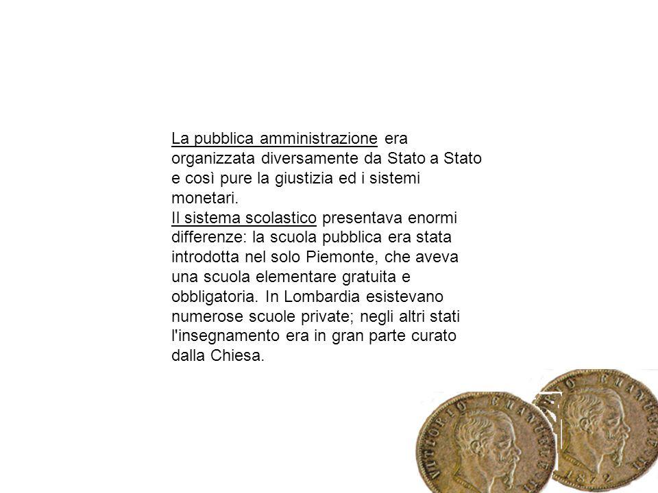 La pubblica amministrazione era organizzata diversamente da Stato a Stato e così pure la giustizia ed i sistemi monetari. Il sistema scolastico presen
