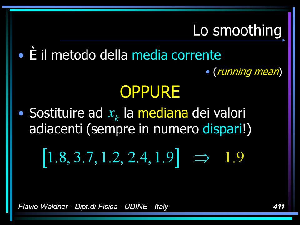 Flavio Waldner - Dipt.di Fisica - UDINE - Italy411 Lo smoothing È il metodo della media corrente (running mean) OPPURE Sostituire ad la mediana dei valori adiacenti (sempre in numero dispari!)