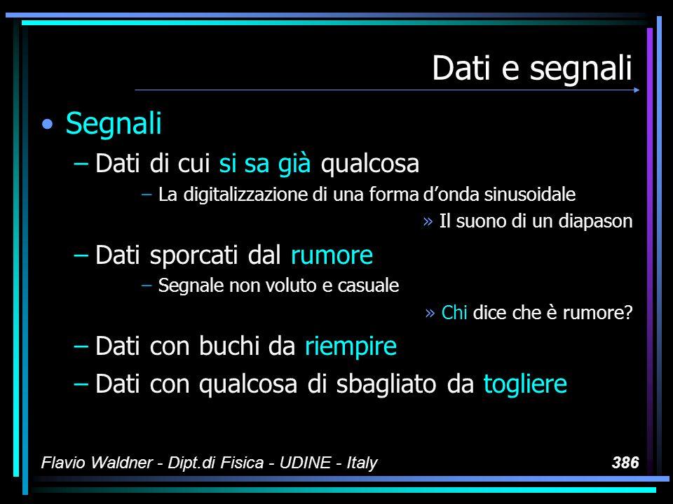 Flavio Waldner - Dipt.di Fisica - UDINE - Italy387 Dati e segnali Dati così così –Dati che non sono segnali »Non ne sappiamo ancora niente –Dati di cui non abbiamo ancora modelli »Vedi sopra –Dati sui quali dobbiamo orientarci in qualche modo »...e non sappiamo nemmeno come...