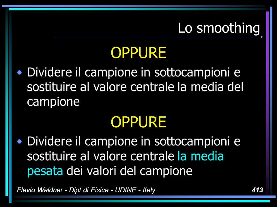 Flavio Waldner - Dipt.di Fisica - UDINE - Italy413 Lo smoothing OPPURE Dividere il campione in sottocampioni e sostituire al valore centrale la media del campione OPPURE Dividere il campione in sottocampioni e sostituire al valore centrale la media pesata dei valori del campione