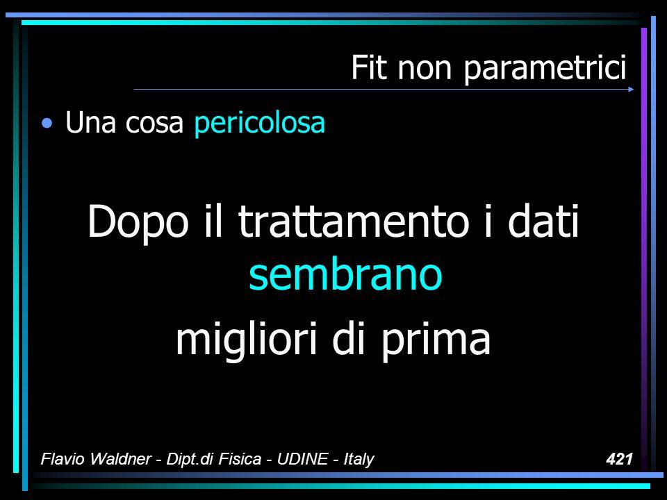 Flavio Waldner - Dipt.di Fisica - UDINE - Italy421 Fit non parametrici Una cosa pericolosa Dopo il trattamento i dati sembrano migliori di prima