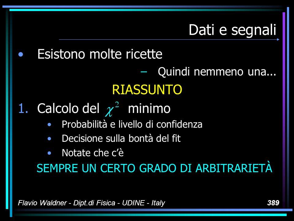 Flavio Waldner - Dipt.di Fisica - UDINE - Italy389 Dati e segnali Esistono molte ricette –Quindi nemmeno una...