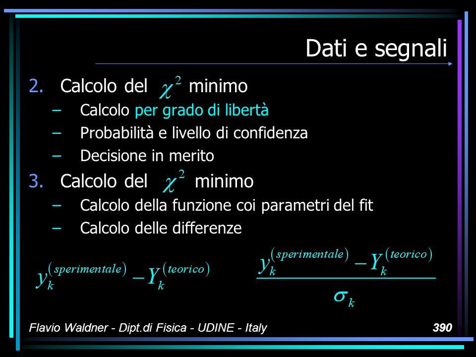 Flavio Waldner - Dipt.di Fisica - UDINE - Italy390 Dati e segnali 2.Calcolo del minimo –Calcolo per grado di libertà –Probabilità e livello di confidenza –Decisione in merito 3.Calcolo del minimo –Calcolo della funzione coi parametri del fit –Calcolo delle differenze