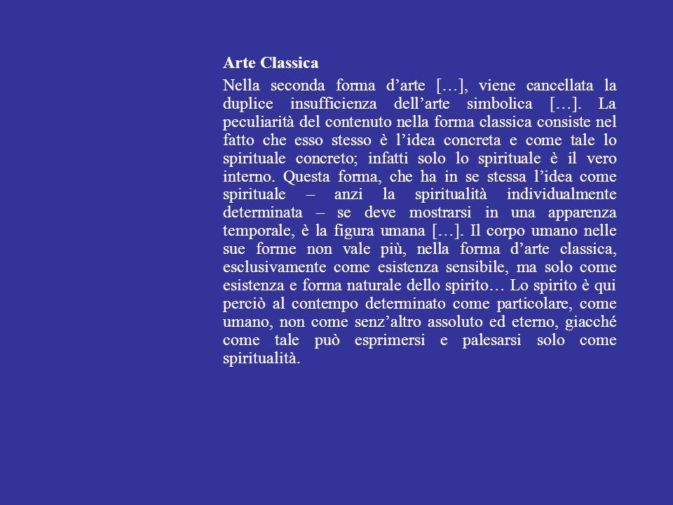 Arte Classica Nella seconda forma darte […], viene cancellata la duplice insufficienza dellarte simbolica […]. La peculiarità del contenuto nella form