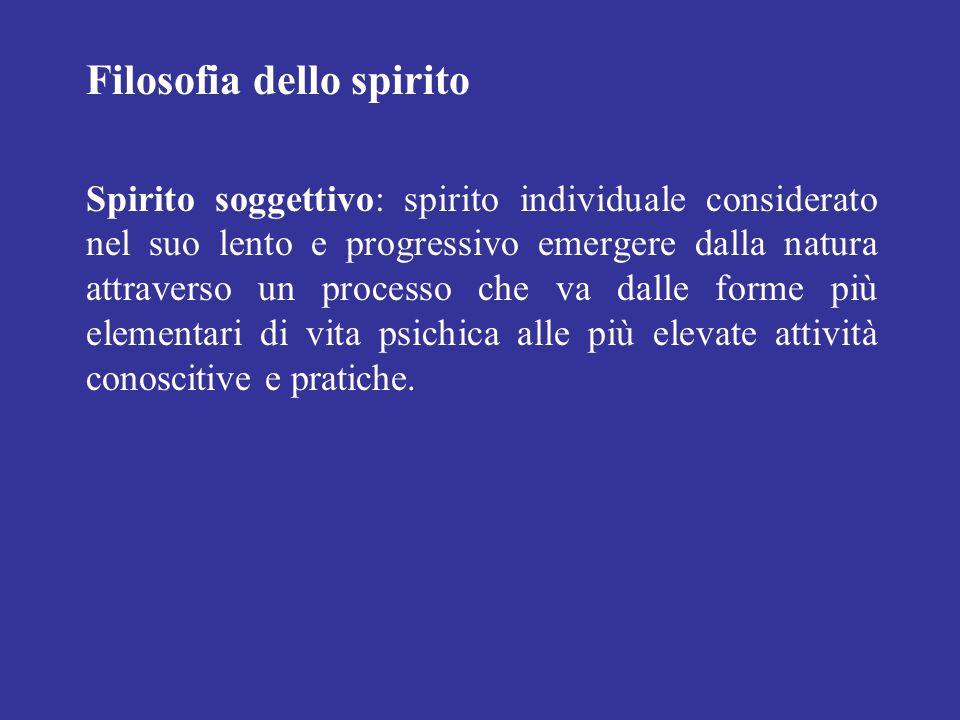 Filosofia dello spirito Spirito soggettivo: spirito individuale considerato nel suo lento e progressivo emergere dalla natura attraverso un processo c