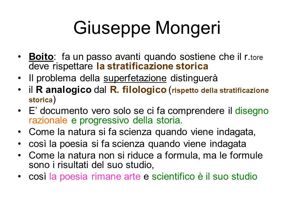 Giuseppe Mongeri Boito: fa un passo avanti quando sostiene che il r. tore deve rispettare la stratificazione storica Il problema della superfetazione