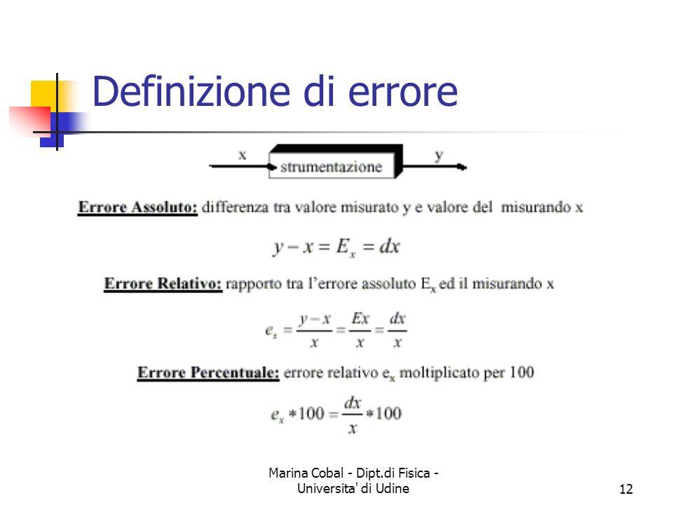Marina Cobal - Dipt.di Fisica - Universita' di Udine12 Definizione di errore