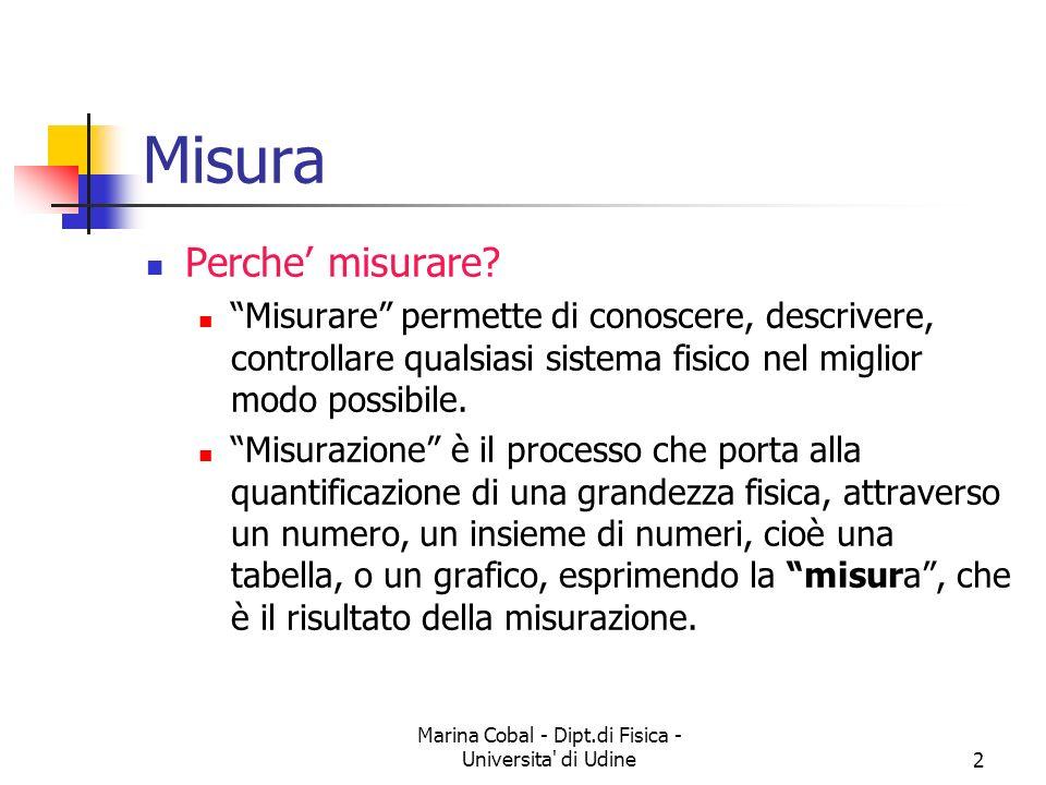 Marina Cobal - Dipt.di Fisica - Universita di Udine13 Classificazione degli errori Errori GrossolaniSistematiciCasuali
