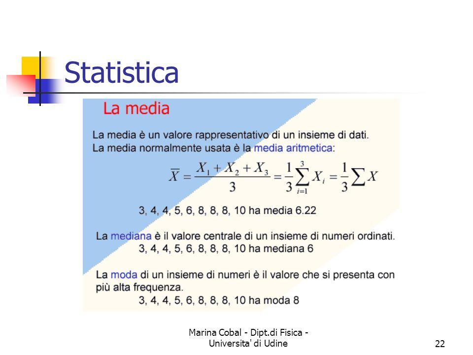 Marina Cobal - Dipt.di Fisica - Universita' di Udine22 Statistica