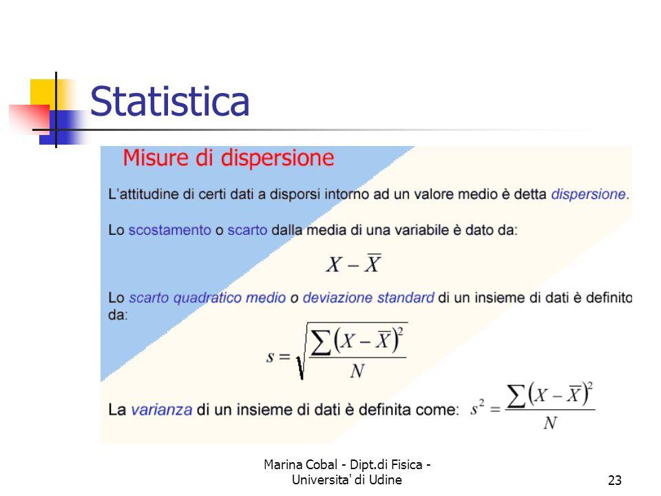 Marina Cobal - Dipt.di Fisica - Universita' di Udine23 Statistica