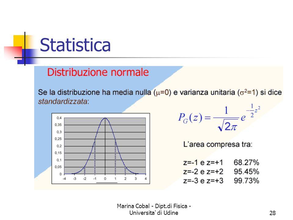 Marina Cobal - Dipt.di Fisica - Universita' di Udine28 Statistica
