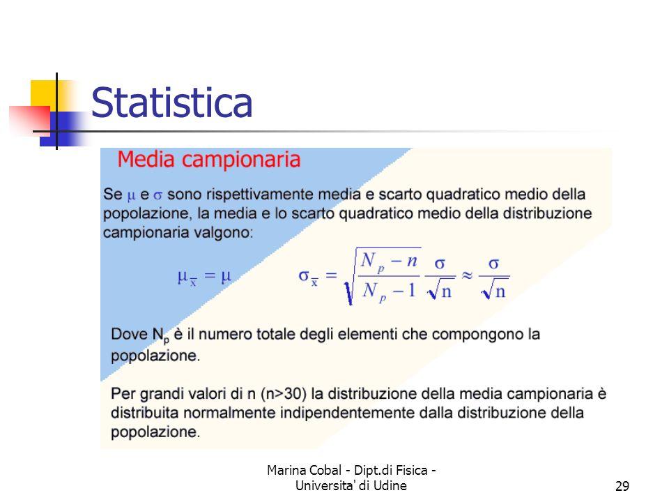 Marina Cobal - Dipt.di Fisica - Universita' di Udine29 Statistica