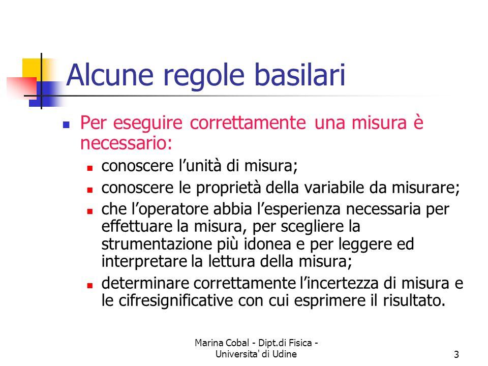 Marina Cobal - Dipt.di Fisica - Universita' di Udine3 Alcune regole basilari Per eseguire correttamente una misura è necessario: conoscere lunità di m