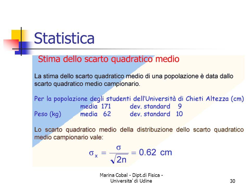 Marina Cobal - Dipt.di Fisica - Universita' di Udine30 Statistica