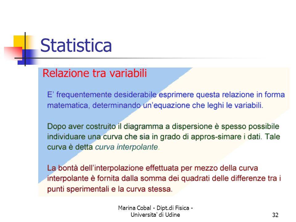Marina Cobal - Dipt.di Fisica - Universita' di Udine32 Statistica