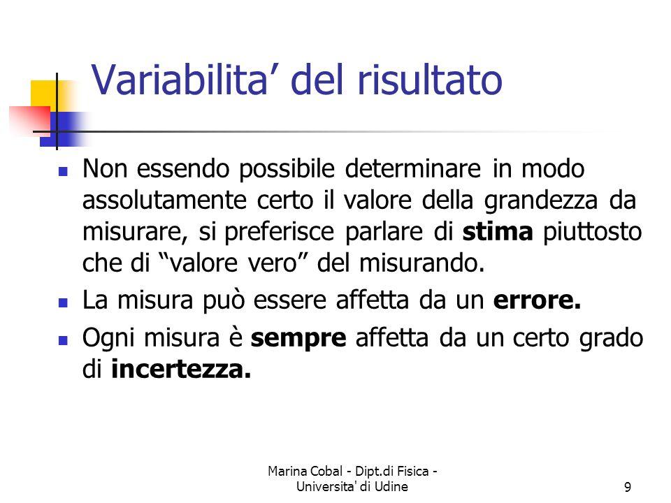 Marina Cobal - Dipt.di Fisica - Universita di Udine10 Cause della variabilita Nella misura di parametri come la forza o la velocita, alcune cause di variabilità dipendono dal soggetto, che esegue la prova ogni volta in modo leggermente diverso.