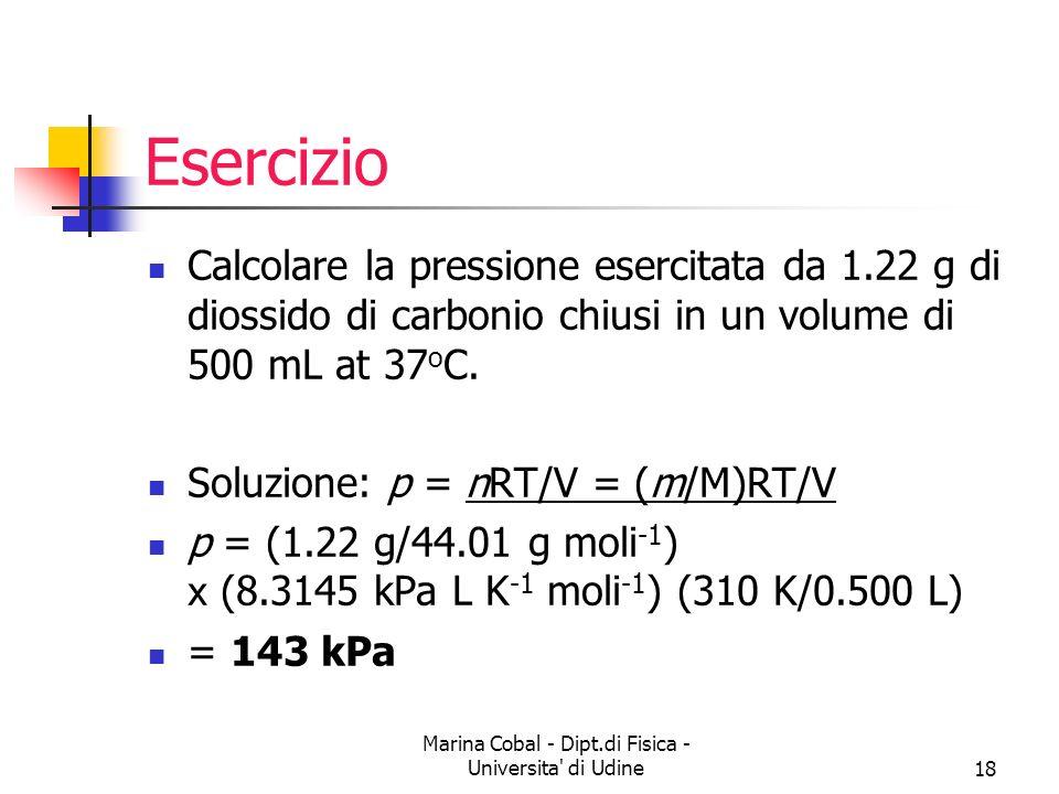 Marina Cobal - Dipt.di Fisica - Universita' di Udine18 Esercizio Calcolare la pressione esercitata da 1.22 g di diossido di carbonio chiusi in un volu