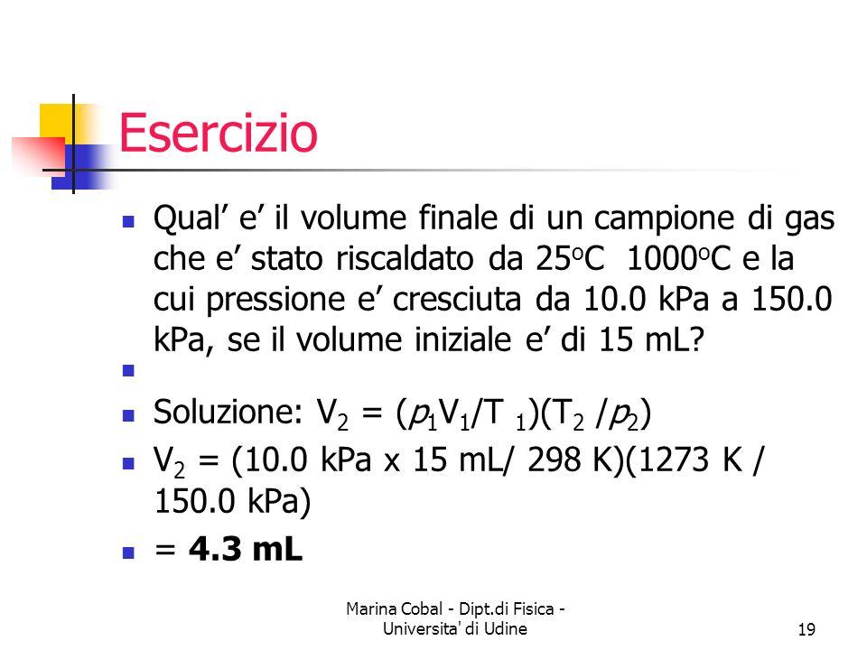 Marina Cobal - Dipt.di Fisica - Universita' di Udine19 Esercizio Qual e il volume finale di un campione di gas che e stato riscaldato da 25 o C 1000 o