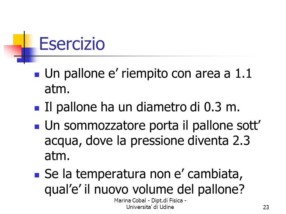 Marina Cobal - Dipt.di Fisica - Universita' di Udine23 Esercizio Un pallone e riempito con area a 1.1 atm. Il pallone ha un diametro di 0.3 m. Un somm