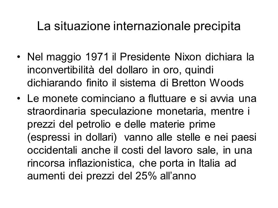 La situazione internazionale precipita Nel maggio 1971 il Presidente Nixon dichiara la inconvertibilità del dollaro in oro, quindi dichiarando finito