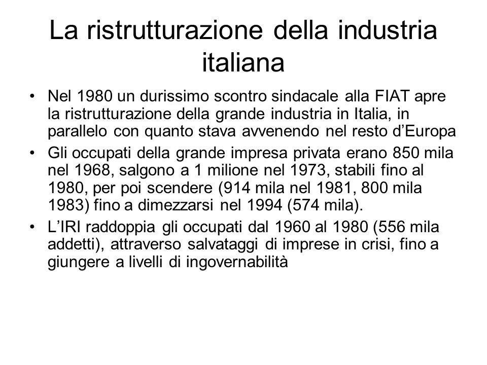 La ristrutturazione della industria italiana Nel 1980 un durissimo scontro sindacale alla FIAT apre la ristrutturazione della grande industria in Ital