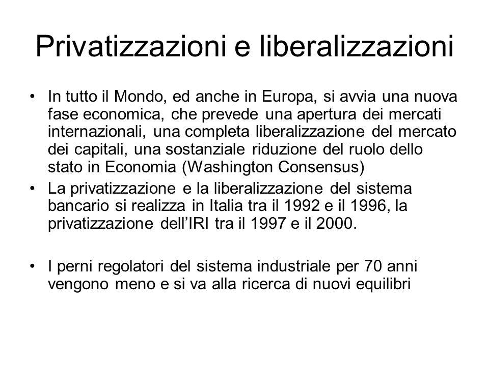 Privatizzazioni e liberalizzazioni In tutto il Mondo, ed anche in Europa, si avvia una nuova fase economica, che prevede una apertura dei mercati inte
