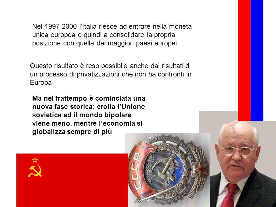 Nel 1997-2000 lItalia riesce ad entrare nella moneta unica europea e quindi a consolidare la propria posizione con quella dei maggiori paesi europei Q