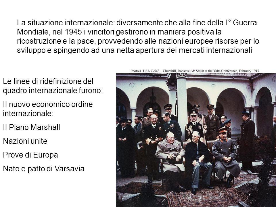 La situazione internazionale: diversamente che alla fine della I° Guerra Mondiale, nel 1945 i vincitori gestirono in maniera positiva la ricostruzione