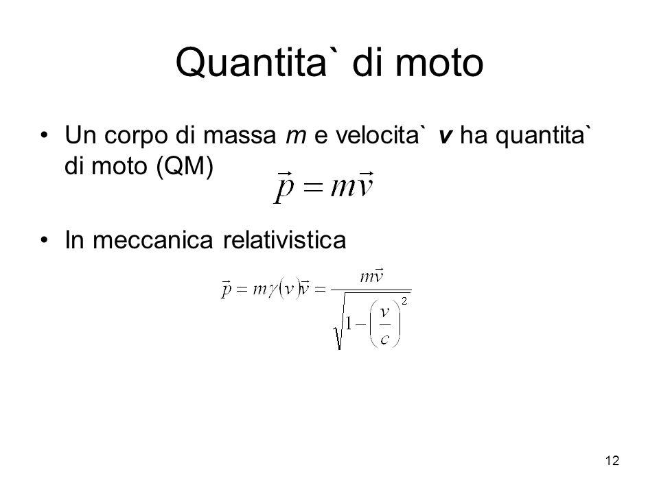 Quantita` di moto Un corpo di massa m e velocita` v ha quantita` di moto (QM) In meccanica relativistica 12