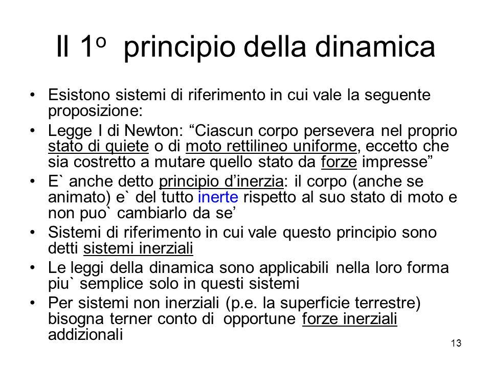 Il 1 o principio della dinamica Esistono sistemi di riferimento in cui vale la seguente proposizione: Legge I di Newton: Ciascun corpo persevera nel p