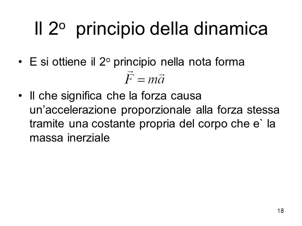 Il 2 o principio della dinamica E si ottiene il 2 o principio nella nota forma Il che significa che la forza causa unaccelerazione proporzionale alla forza stessa tramite una costante propria del corpo che e` la massa inerziale 18