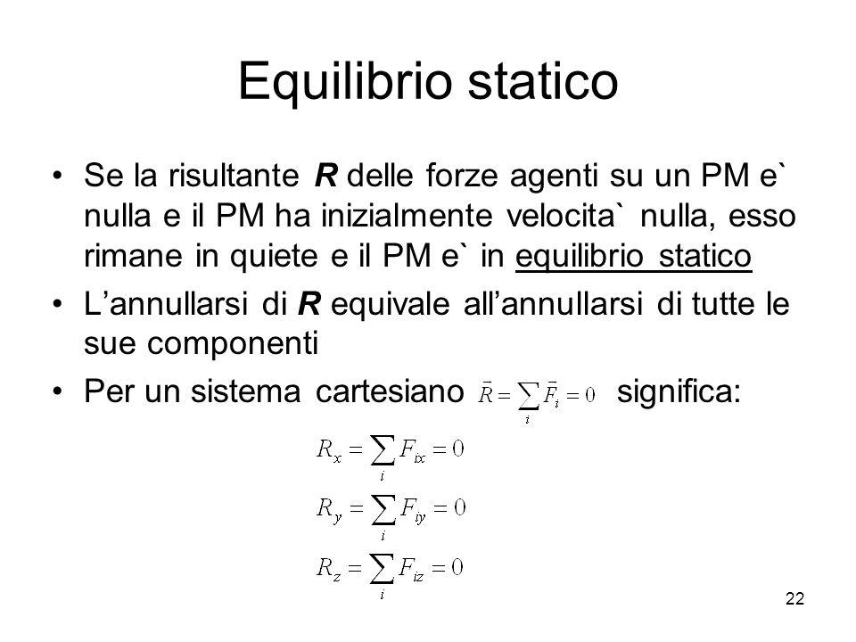 Equilibrio statico Se la risultante R delle forze agenti su un PM e` nulla e il PM ha inizialmente velocita` nulla, esso rimane in quiete e il PM e` in equilibrio statico Lannullarsi di R equivale allannullarsi di tutte le sue componenti Per un sistema cartesiano significa: 22